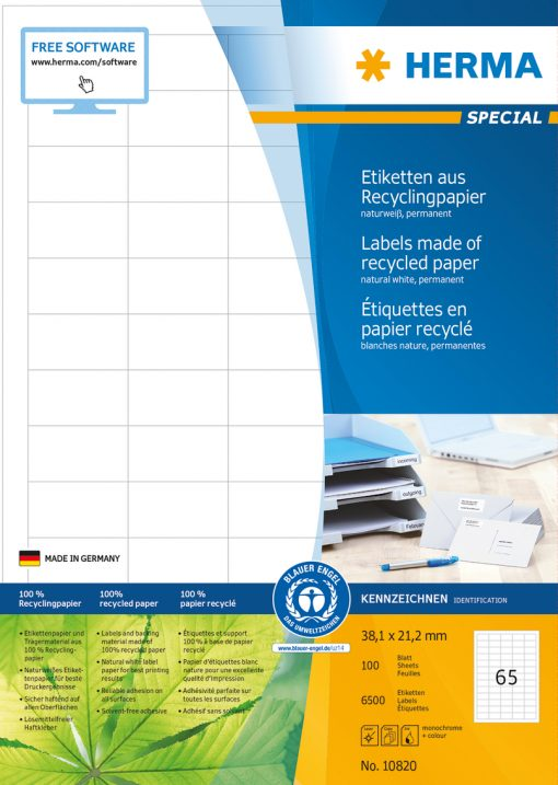 HERMA 10820 LABEL RECYCL PAPER