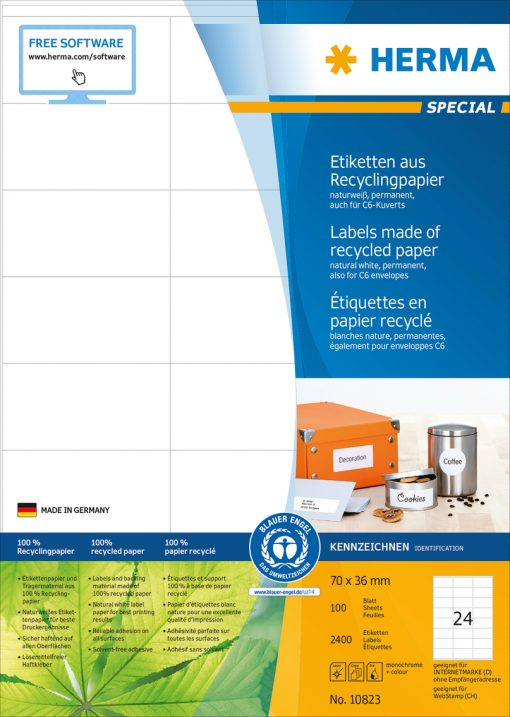 HERMA 10823 LABEL RECYCL PAPER