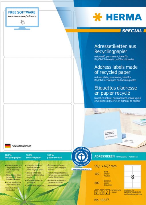 HERMA 10827 LABEL RECYCL PAPER