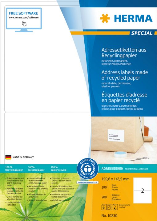 HERMA 10830 LABEL RECYCL PAPER