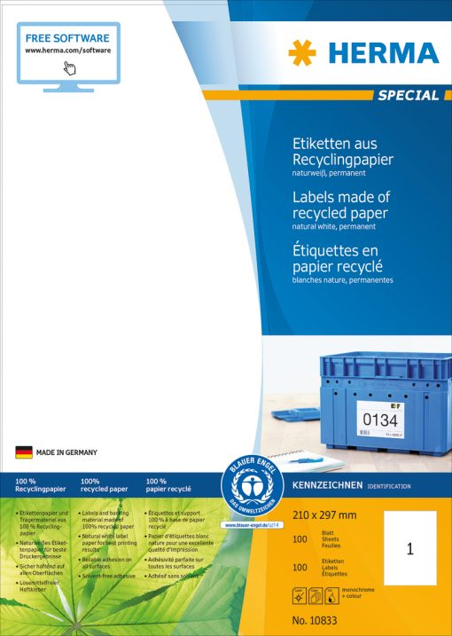 HERMA 10833 LABEL RECYCL PAPER