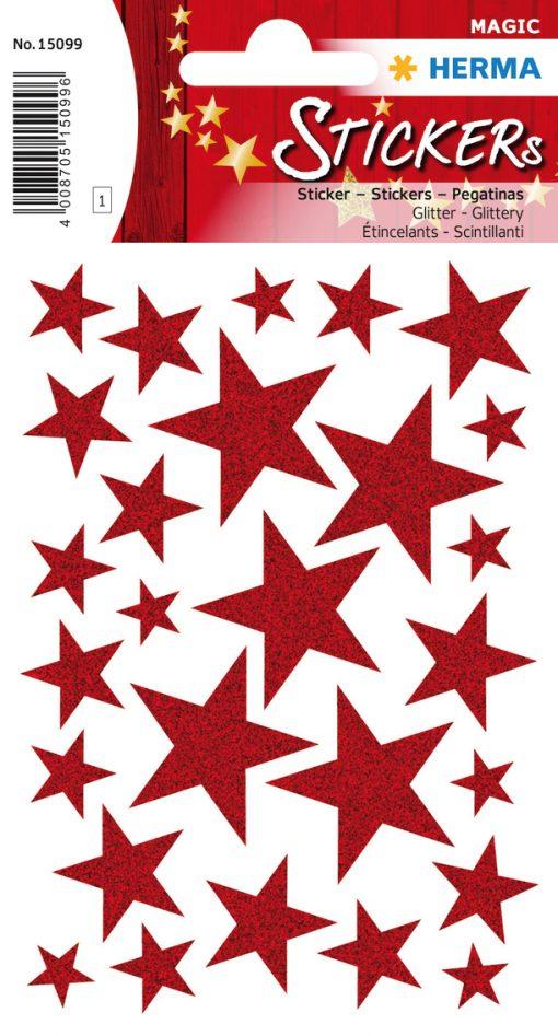 HERMA 15099 MAGIC STARS RED