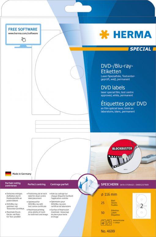 HERMA 4699 DVD LABELS LASER FI