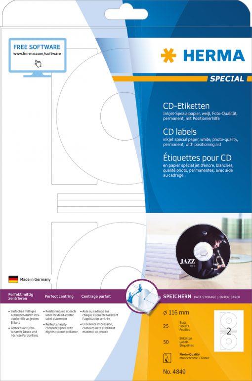 HERMA 4849 CD LABELS INKJET A4