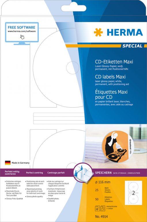HERMA 4914 CD LABELS LASER GLO