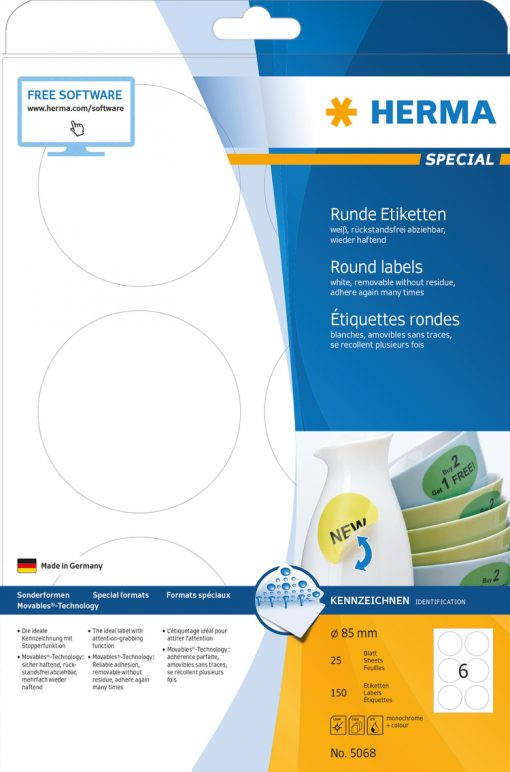 HERMA 5068 MOVABLES LABELS A4