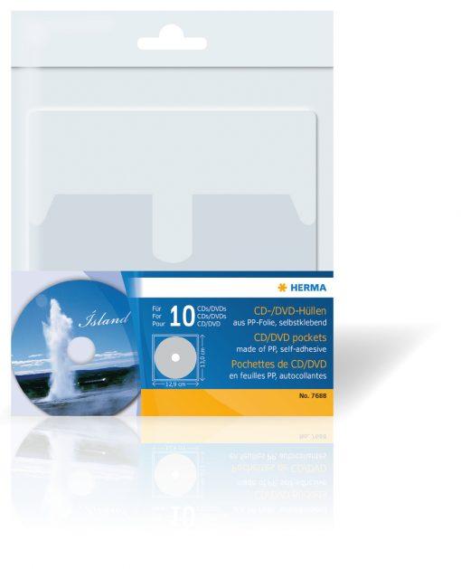 , CD/DVD Pockets, 129x130mm 10 Pockets, Herma Labels, Herma Labels