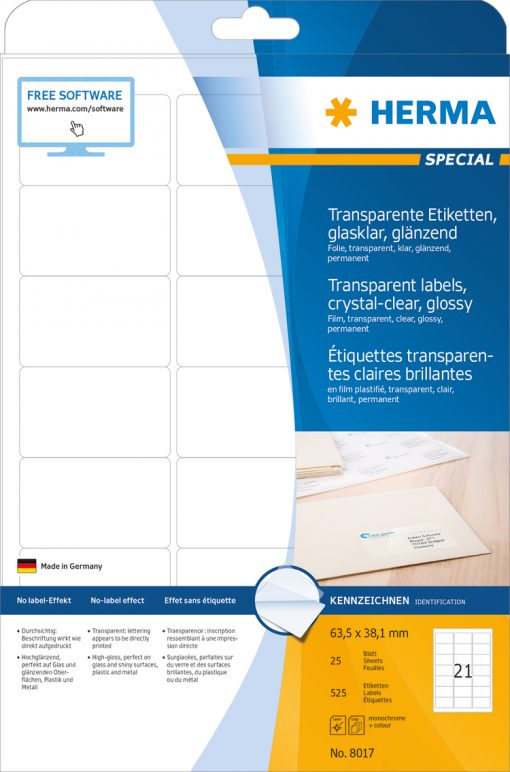 HERMA 8017 CRYSTAL-CLEAR LABEL