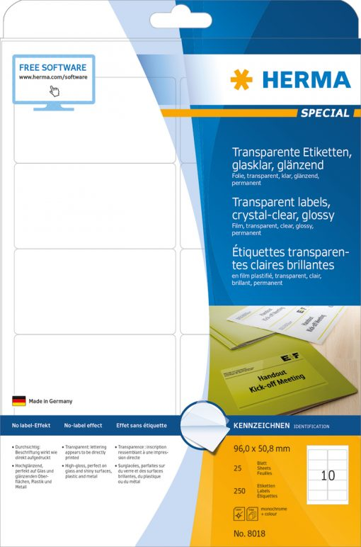 HERMA 8018 CRYSTAL-CLEAR LABEL