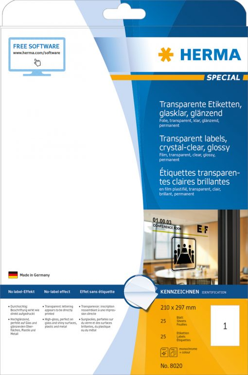 HERMA 8020 CRYSTAL-CLEAR LABEL