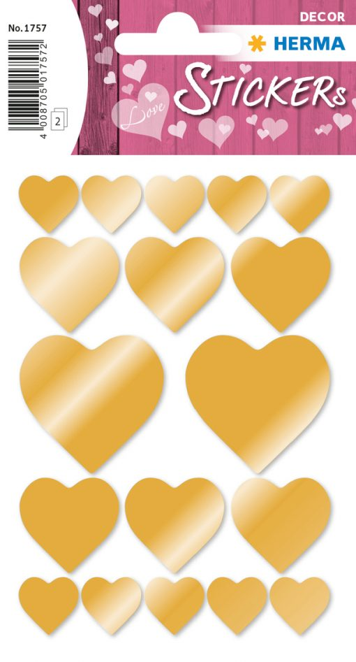 HERMA 1757 DECOR HEARTS GOLD