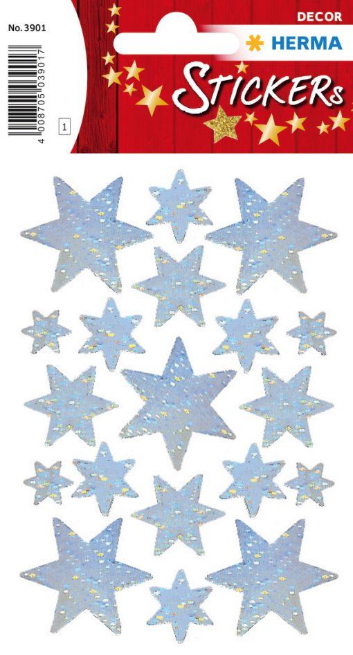 HERMA 3901 DECOR STARS SILVER
