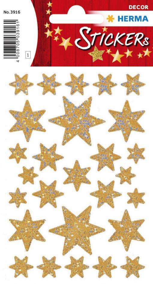 HERMA 3916 DECOR STARS GOLD/RE