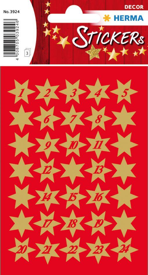 HERMA 3924 DECOR STARS 1-24