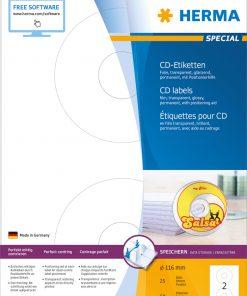 HERMA 4374 CD LABELS TRANSPARE
