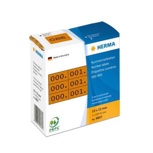 HERMA 4807 TRIPLICATE NUMBERS