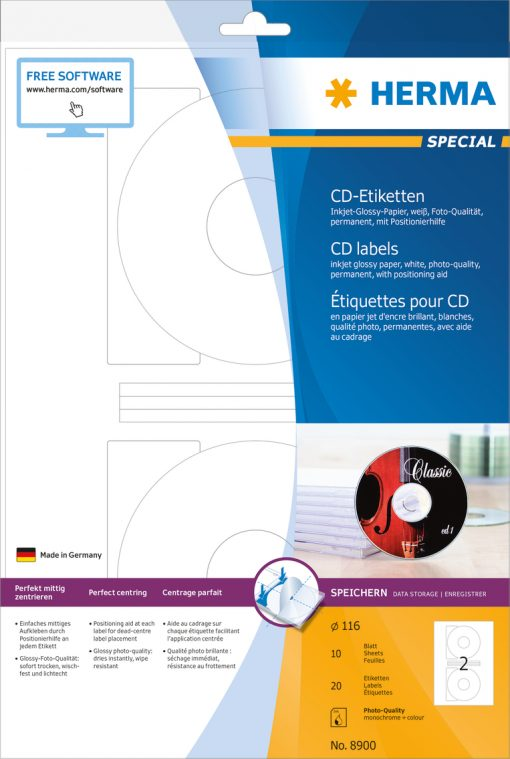 HERMA 8900 CD LABELS INK GLOSS